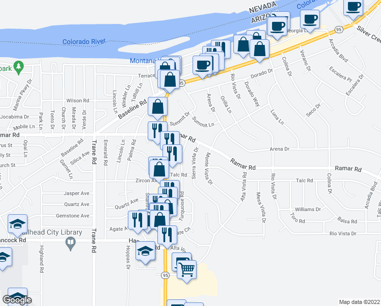 map of restaurants, bars, coffee shops, grocery stores, and more near 1558 Sierra Vista Drive in Bullhead City