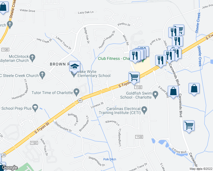 map of restaurants, bars, coffee shops, grocery stores, and more near 7820 Guardian Angel Lane in Charlotte