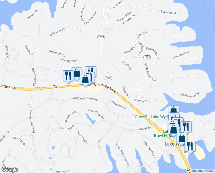 map of restaurants, bars, coffee shops, grocery stores, and more near 501 State Route 1385 in Lake Wylie