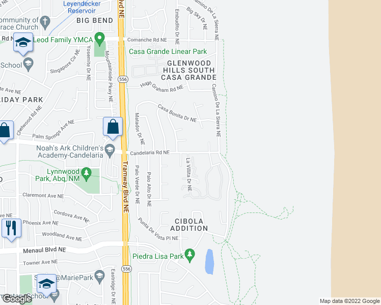 map of restaurants, bars, coffee shops, grocery stores, and more near 13170 Candelaria Rd NE in Albuquerque