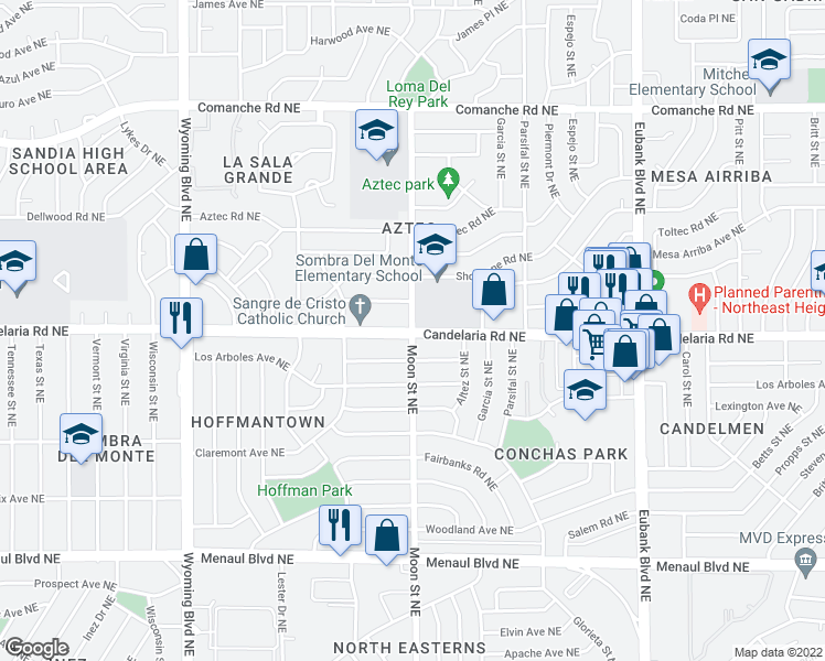 Candelaria Rd NE Moon St NE Albuquerque NM Walk Score - Candelaria map