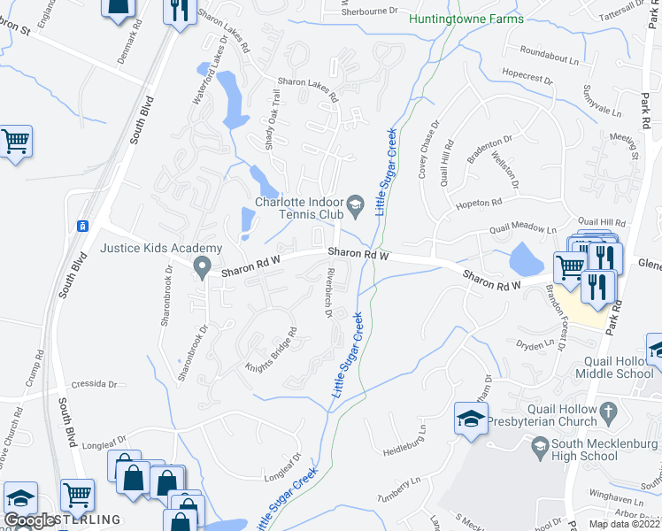 map of restaurants, bars, coffee shops, grocery stores, and more near 2000 Sharon Oaks Lane in Charlotte