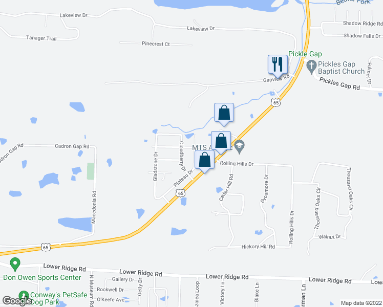 map of restaurants, bars, coffee shops, grocery stores, and more near 3025 Plateau Drive in Conway