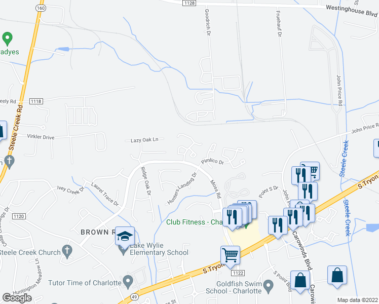 map of restaurants, bars, coffee shops, grocery stores, and more near 11144 Whitlock Crossing Court in Charlotte