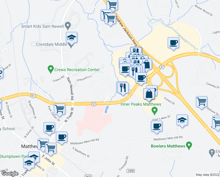 map of restaurants, bars, coffee shops, grocery stores, and more near 10505 Paces Avenue in Matthews