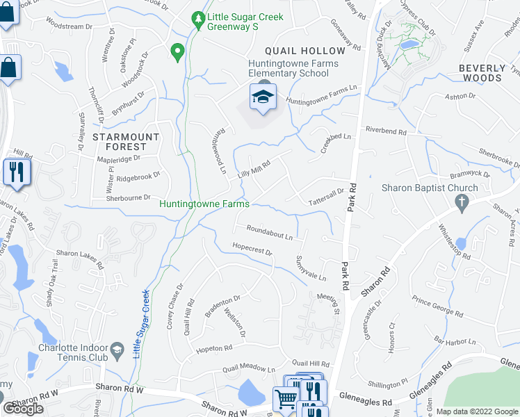map of restaurants, bars, coffee shops, grocery stores, and more near 2520 Roundabout Lane in Charlotte