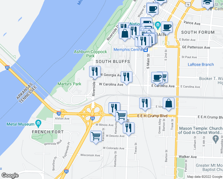 map of restaurants, bars, coffee shops, grocery stores, and more near 731 Litty Court in Memphis