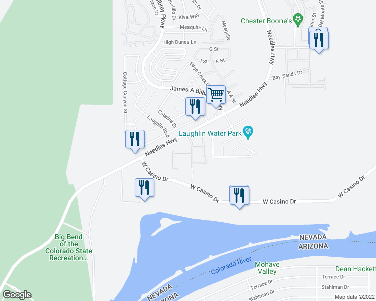 map of restaurants, bars, coffee shops, grocery stores, and more near 3811 Desert Marina Drive in Laughlin