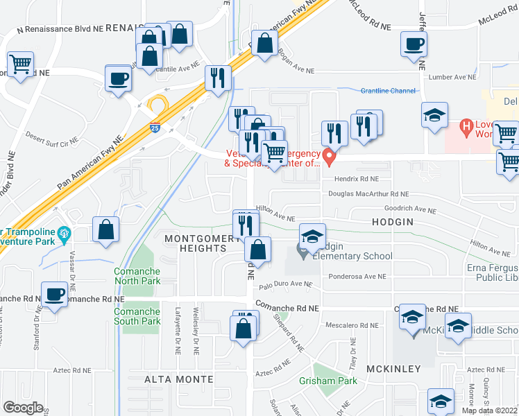 map of restaurants, bars, coffee shops, grocery stores, and more near Hilton Avenue Northeast in Albuquerque