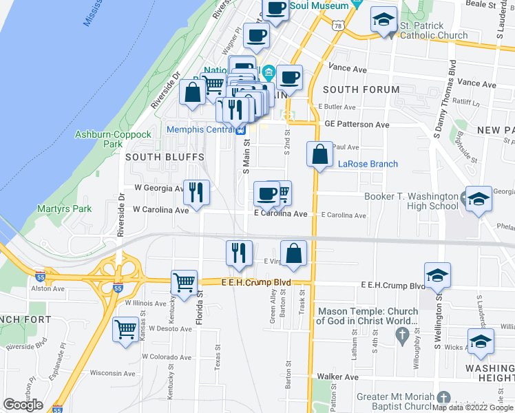 map of restaurants, bars, coffee shops, grocery stores, and more near 93 Toulouse Street in Memphis