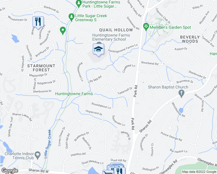 map of restaurants, bars, coffee shops, grocery stores, and more near 2618 Merrywood Road in Charlotte