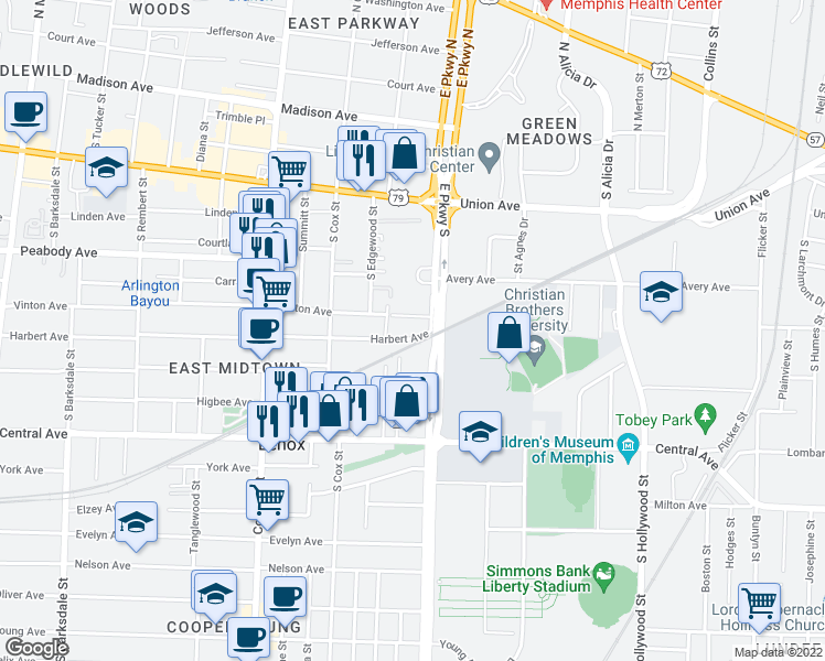 map of restaurants, bars, coffee shops, grocery stores, and more near 585 East Parkway South in Memphis