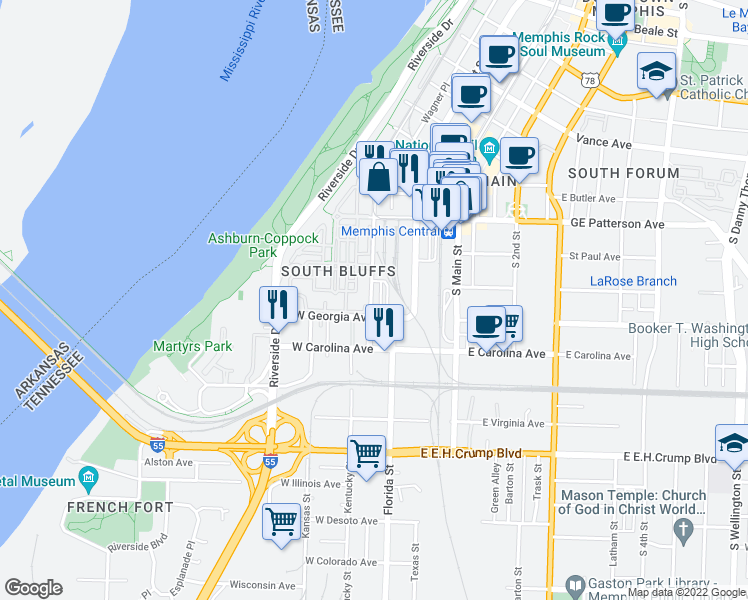 map of restaurants, bars, coffee shops, grocery stores, and more near 620 Tennessee Street in Memphis