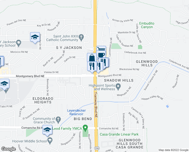 map of restaurants, bars, coffee shops, grocery stores, and more near Tramway Blvd NE & Montgomery Blvd NE in Albuquerque