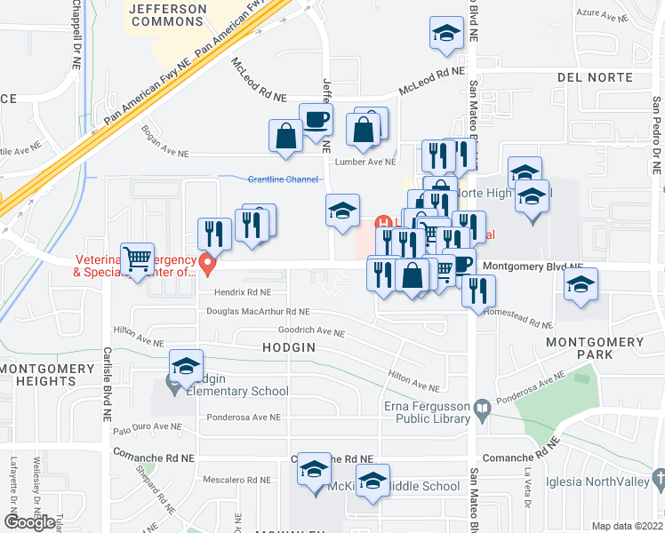 map of restaurants, bars, coffee shops, grocery stores, and more near Montgomery Blvd NE & Jefferson St NE in Albuquerque