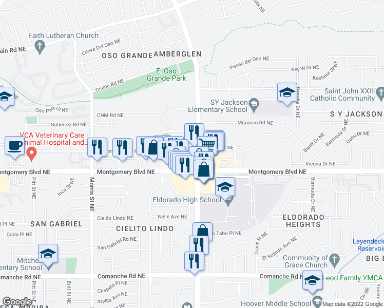 map of restaurants, bars, coffee shops, grocery stores, and more near 4425 Juan Tabo Boulevard Northeast in Albuquerque