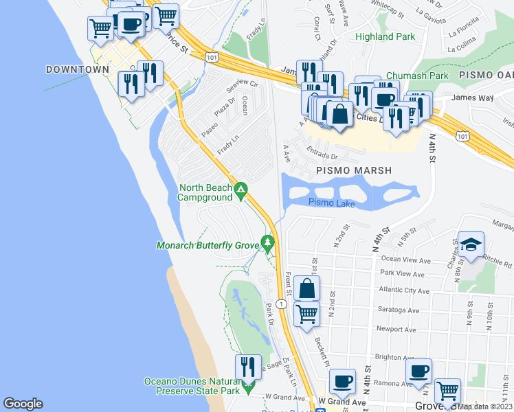Map Of Restaurants Bars Coffee S Grocery Ore Near 40