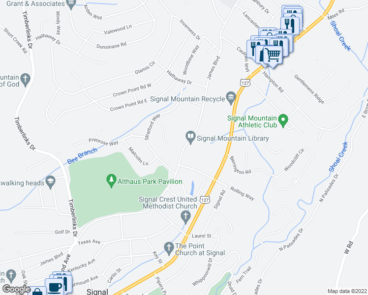 map of restaurants, bars, coffee shops, grocery stores, and more near 1113 James Boulevard in Signal Mountain
