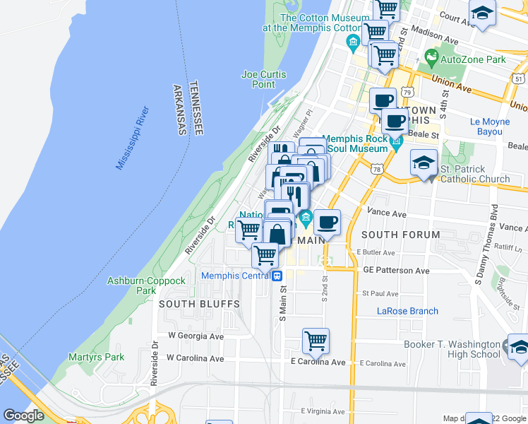 map of restaurants, bars, coffee shops, grocery stores, and more near 435 South Front Street in Memphis