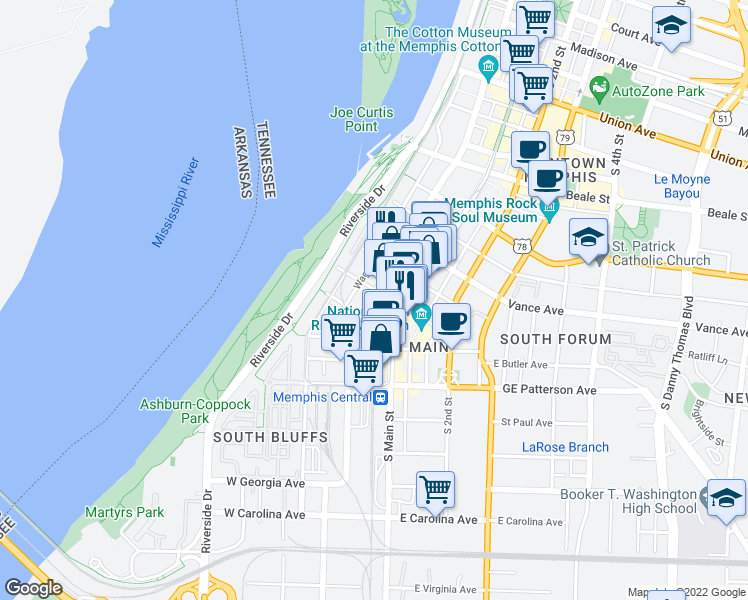 map of restaurants, bars, coffee shops, grocery stores, and more near 408 South Front Street in Memphis