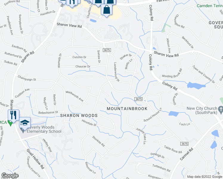 map of restaurants, bars, coffee shops, grocery stores, and more near 3324 Mountainbrook Road in Charlotte