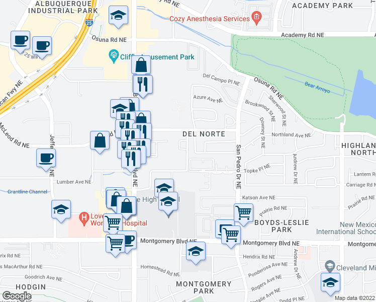 map of restaurants, bars, coffee shops, grocery stores, and more near 5021 San Mateo Lane Northeast in Albuquerque