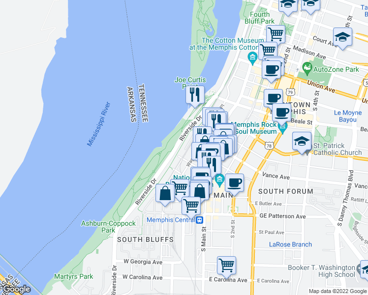 map of restaurants, bars, coffee shops, grocery stores, and more near Hernando de Soto Bridge in Memphis