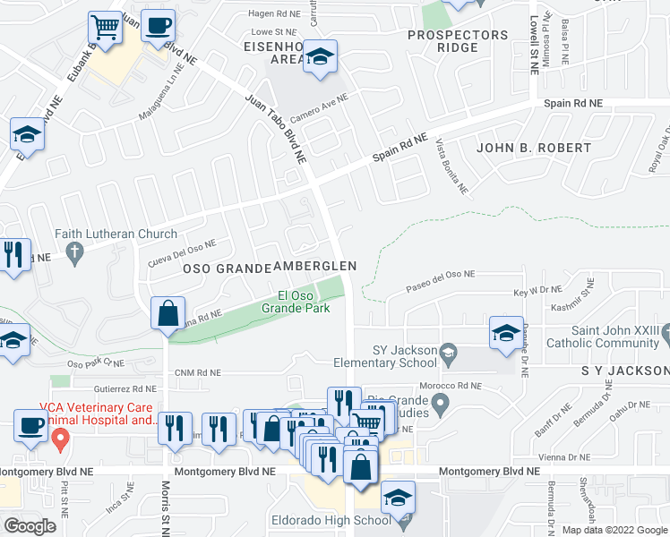 map of restaurants, bars, coffee shops, grocery stores, and more near 5000 Serena Circle Northeast in Albuquerque