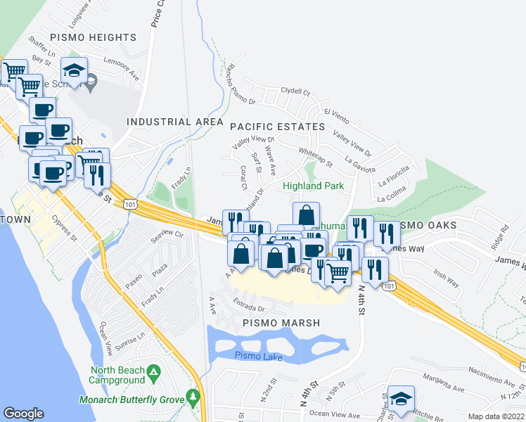 map of restaurants, bars, coffee shops, grocery stores, and more near 95 Coral Circle in Pismo Beach