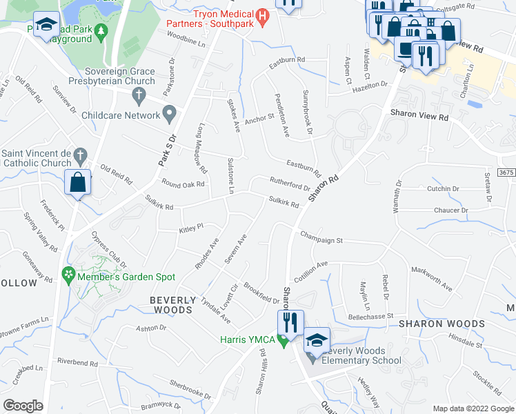 map of restaurants, bars, coffee shops, grocery stores, and more near 3622 Severn Avenue in Charlotte