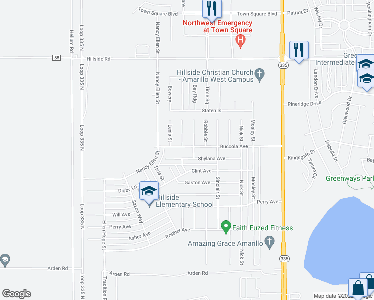 map of restaurants, bars, coffee shops, grocery stores, and more near 9313 Buccola Avenue in Amarillo