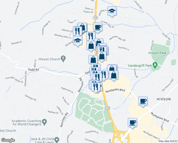 map of restaurants, bars, coffee shops, grocery stores, and more near 1005 Gadd Road in Chattanooga