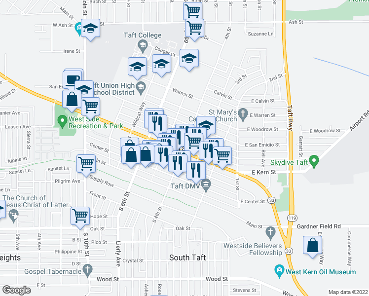 map of restaurants, bars, coffee shops, grocery stores, and more near in Taft