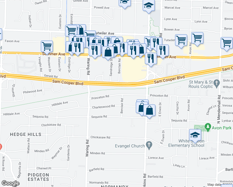 map of restaurants, bars, coffee shops, grocery stores, and more near 4470 Princeton Road in Memphis