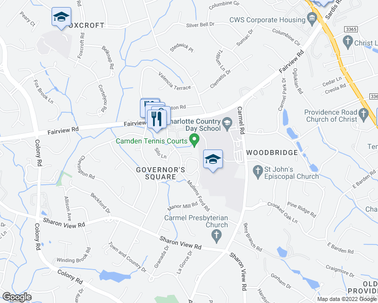 map of restaurants, bars, coffee shops, grocery stores, and more near 4612 Simsbury Road in Charlotte