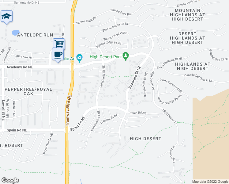 map of restaurants, bars, coffee shops, grocery stores, and more near 6000 Cortaderia Street Northeast in Albuquerque