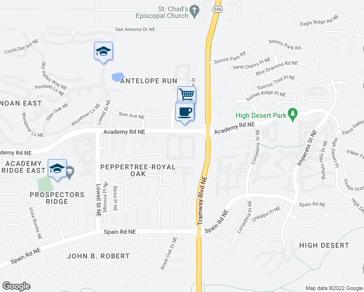 map of restaurants, bars, coffee shops, grocery stores, and more near 12200 Academy Road Northeast in Albuquerque