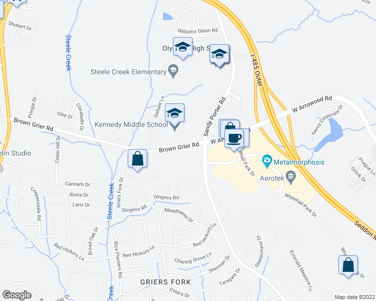 map of restaurants, bars, coffee shops, grocery stores, and more near 14232 Brown Grier Road in Charlotte