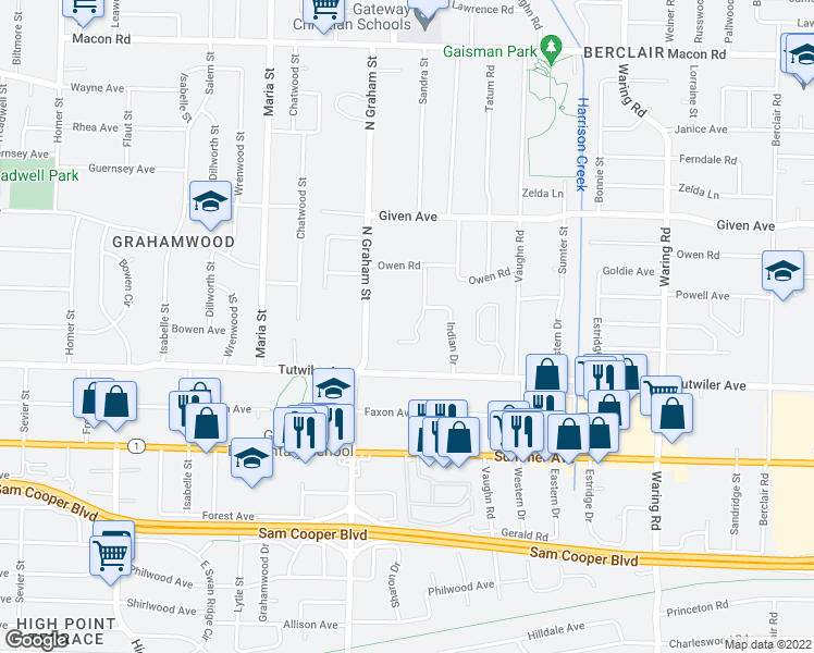 map of restaurants, bars, coffee shops, grocery stores, and more near 791 Margo Lane in Memphis
