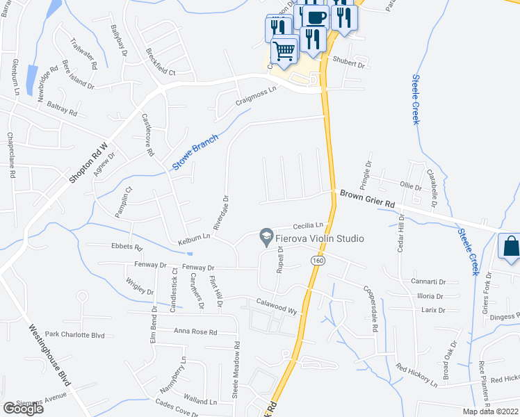 map of restaurants, bars, coffee shops, grocery stores, and more near 10030 Wildwood Muse Court in Charlotte