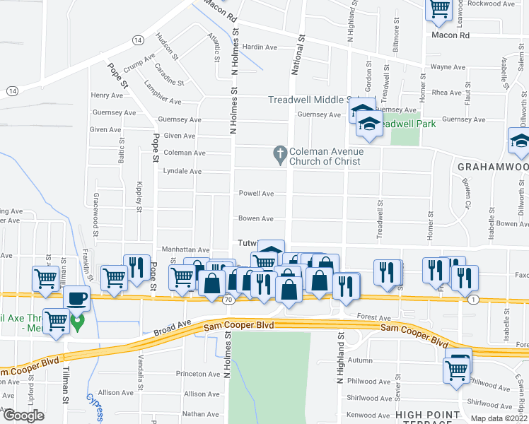 map of restaurants, bars, coffee shops, grocery stores, and more near 3348 Bowen Ave in Memphis