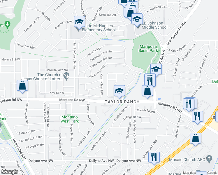 map of restaurants, bars, coffee shops, grocery stores, and more near 6200 Vista Sierra Street Northwest in Albuquerque