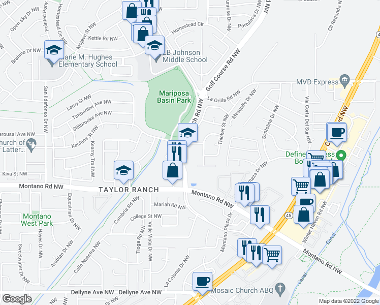 map of restaurants, bars, coffee shops, grocery stores, and more near 4730-4798 Kachina Street Northwest in Albuquerque