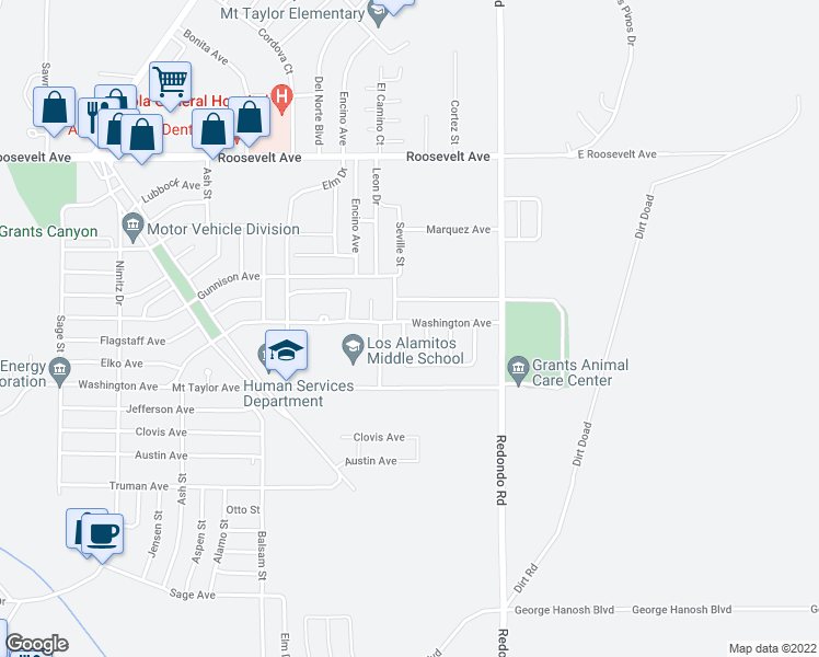 map of restaurants, bars, coffee shops, grocery stores, and more near 811 Seville Loop in Grants