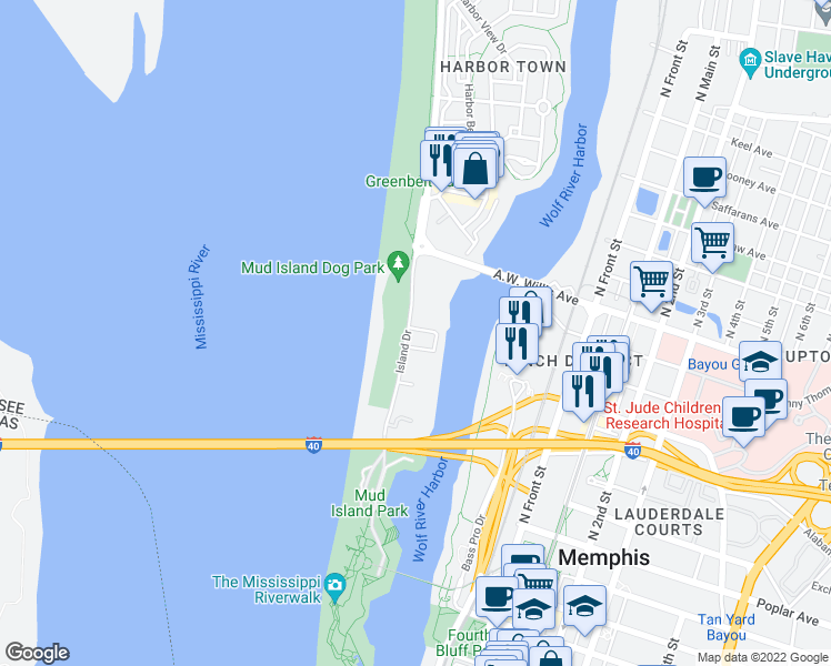 map of restaurants, bars, coffee shops, grocery stores, and more near 380 Island Drive in Memphis