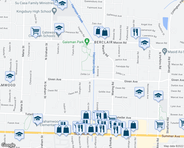 map of restaurants, bars, coffee shops, grocery stores, and more near 960 Sumter Street in Memphis