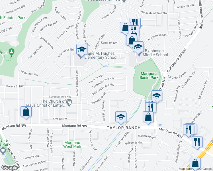 map of restaurants, bars, coffee shops, grocery stores, and more near Still Brooke Ave NW in Albuquerque