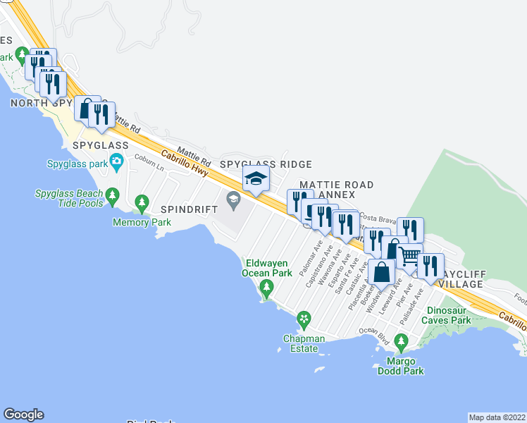 map of restaurants, bars, coffee shops, grocery stores, and more near 2053 Shell Beach Road in Pismo Beach