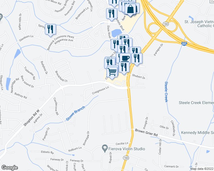 map of restaurants, bars, coffee shops, grocery stores, and more near 4524 Craigmoss Lane in Charlotte