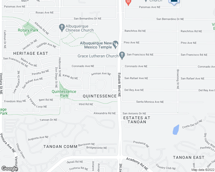 map of restaurants, bars, coffee shops, grocery stores, and more near 7312 Anton Circle Northeast in Albuquerque